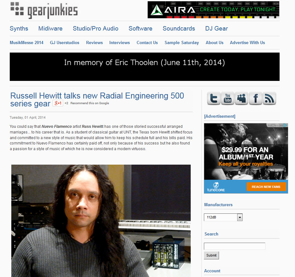 My interview by Radial Engineering got picked up by Pro Sound Web and Gear Junkies.